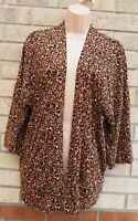 NEXT BROWN ANIMAL PRINT SHORT SLEEVE BAGGY OVERSIZED CAPE CARDIGAN KIMONO 8 S