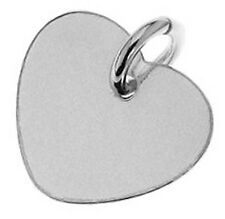 1 LARGE STERLING SILVER HEART CHARM / TAG WITH CLOSED JUMP RING, 15 X 14 MM