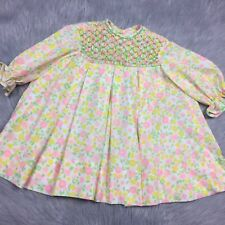 e94f1cb276ea4 Vintage 1960s Toddler Girls Pink Yellow Green Floral Smocked Pleated Dress