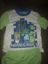 Minecraft Boys Size 8 Steve Wolf Minecart Pajama Shorts Set