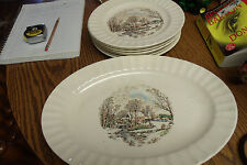 VINTAGE KNOWLES T.M. U.S.A. FARM WINTER SCENE 7 PLATES AND PLATTER