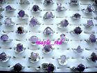 Wholesale bulk lots 20pcs assorted Purple amethyst stone Rings jewelry Gift