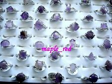 Wholesale bulk lots 20pcs assorted Purple amethyst stone Rings jewelry Gift