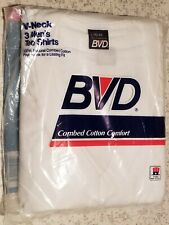 Vintage 80's BVD Mens V-Neck Tee Shirt 3-Pk | Large 42-44 | 1987