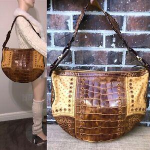 Gucci Brown Croc Ostrich Patchwork Bag