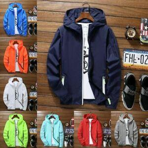 Men Waterproof Wind Breaker Zipper Hoodie Light Jacket Sports Outwear Gym Coat