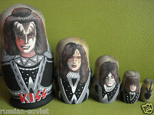KISS - RUSSIAN HAND PAINTED DOLL - KISS THE GROUP - GENE SIMMONS + BAND MEMBERS