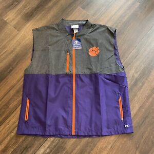 Champion Clemson Tigers NWT Size XXL Sleeveless Vest Purple Gray Nylon Poly Zip