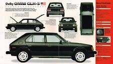 1986 Dodge SHELBY OMNI GLH-S SPEC SHEET / Brochure / Flyer, GLHS