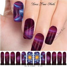 Water Decals - Purple + Blue Nail Wrap Sticker Transfer  Nail Stickers M1-076