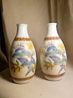 Antique JAPANESE KUTANI porcelain Vase set Satsuma (九谷) Meiji period