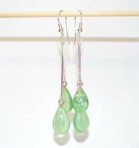 Amber Earrings Long Earrings Green Caribbean Amber Dangle Earrings Silver Hooks