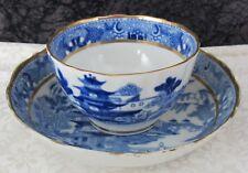 c. 1810 Staffordshire Miles Mason Pagoda Blue Transferware Cup & Saucer