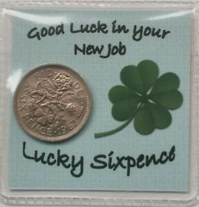 New Job! Lucky Sixpence gift ideal to say Well Done, Good Luck, Congratulations!