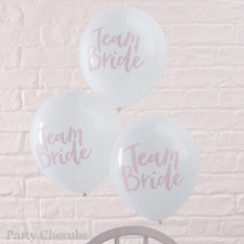 Team Bride Balloons x 10 - Pink & White Hen Party Decoration