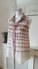 Warehouse Nude Sheer Silk Long Tunic Ladies blouse Summer Top Size 8