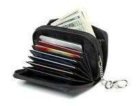 Alban Wallet Black Leather Man or Woman RFID Blocking Secure Key Chain and Strap