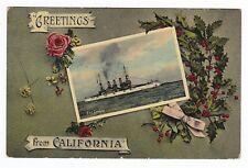 Military/Navy Ship-BATTLESHIP USS LOUISIANA-Greetings California Postcard U.S.S.