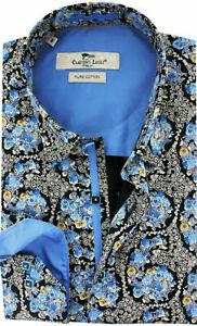 Men's Printed Shirt Slim Fit Long Sleeve Cotton Size: S CLAUDIO LUGLI Paisley