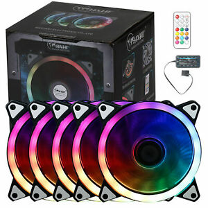 5Pcs Game Eclipse Max RGB 16.8 Million Colours LED Ring PC 12cm Case Fan