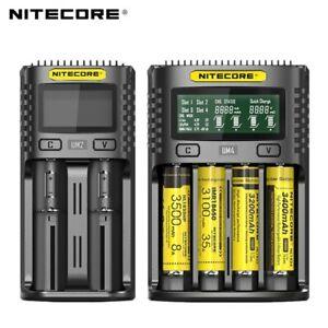 NITEC0RE UM4 UM2 USB Slot Battery Smart Charger for Li Ion AA AAA 18650 26500