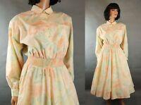 80s Shirtwaist Dress Sz L Vintage Peach Green Floral Cotton Blend Flared A Line