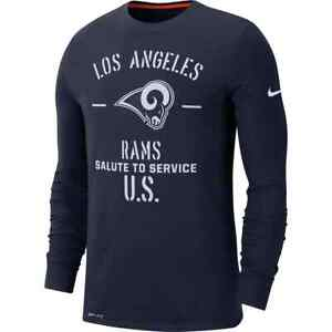 New Nike Lg Los Angeles Rams Salute To Service Long Sleeve Dri-fit T Shirt