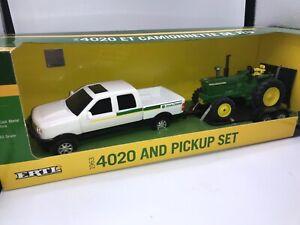 John Deere 4020 Diesel With Pickup & Trailer Set By Ertl 1/32nd Scale