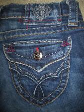 PLASTIC BY GLY Boot Flap Pkt Stretch Dark Blue Denim Jeans Womens Size 26 x 28.5