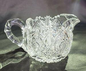 Rare Vintage Crystal Cut Glass Creamer Star Pattern With Sawtooth Lip - Heavy