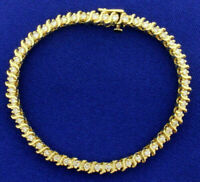 10 Ct Round Cut Diamond 14k Yellow Gold Fn Womens Prong Set Tennis Bracelet 7""