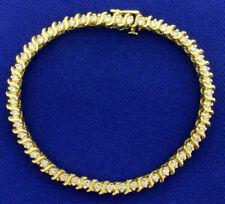 "10 Ct Round Cut Diamond 14k Yellow Gold Fn Womens Prong Set Tennis Bracelet 7"""