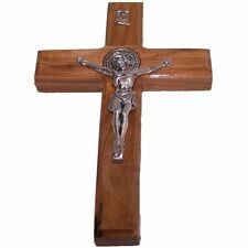 "6"" Handcarved St Benedict Cross Saint Benedict Crucifix Medal Made of Olive Wood"