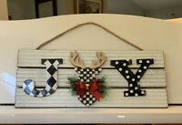 "Mackenzie Childs Inspired ""JOY"" Enhanced Christmas Decor Sign Deer Handpainted"
