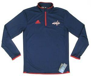NEW Men's Adidas Washington Capitals Hockey NHL 1/4-Zip Climalite Pullover SMALL