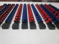 MOUNTABLE ABS ~ 12 ~ RED / BLUE SOCKET HOLDER RAIL RACK ORGANIZER TRAY BALL CLIP