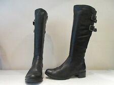 CLARKS BLACK LEATHER LIKEABLE ME BUCKLE LONG BOOTS UK 5 D (3327)