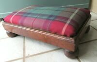 ANTIQUE Foot Stool Ottoman Wood Country Primitive Cricket UPHOLSTERED VICTORIAN