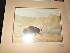 "buffalo signed art print marguarita flelds "" vanishing monarch"" 225/ 500"
