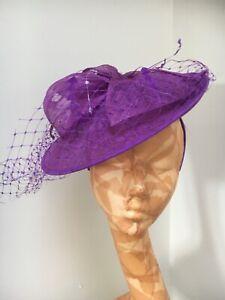 WOMENS FASCINATOR HAT Alice Band PURPLE PLUM Feather Head Piece Wedding Crystal