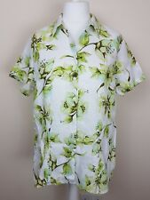 Ladies 100% Linen White Green Floral Short Sleeves Tunic Blouse Shirt UK Size 20