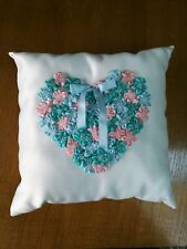 "Handmade 9"" White Satin Ring Pillow with Blue Green Aqua Pink Flower Heart"