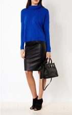 BNWT Karen Millen Black Faux Leather Front Pencil Office Skirt Size 8 RRP £125