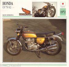 Scheda moto plastificata HONDA CB 750 K2 - Moto sportiva - 1972