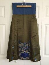 Vintage Japanese Silk Hakama w/ blue Embroidery - Medium