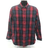 Kenny Rogers Vintage Shirt Mens Size L Large Red Blue Long Sleeve Button Front