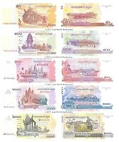 Cambodia 50 + 100 + 500 + 1000 + 2000 Riels Set of 5 Banknotes 5 PCS UNC