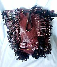Authentic Prada Studded Burgundy Color Crackle Leather Fringe Bag Wristlet