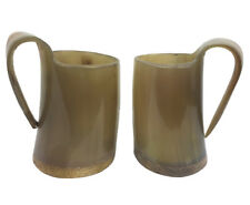 New listing Handcrafted Polished Genuine Ox Horn Tankard Game of Thrones Mead Cup Mug 2pc