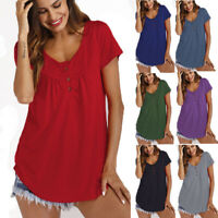 Womens Summer Plus Size Tops Tunic Shirt Short Sleeve Loose Tops Blouse T-Shirt